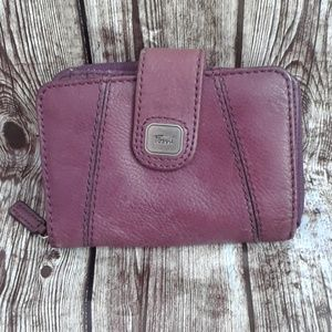Fossil purple leather wallet
